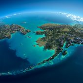 stock photo of chukotka  - Highly detailed planet Earth in the morning - JPG