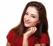 Happy Smiling Woman. Closeup Isolated Portrait