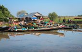 Wooden Tourist Boats Near Traditional Open Market On Inle Lake, Myanmar (burma)