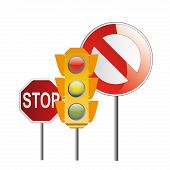 image of traffic signal  - two traffic signals and a traffic light with respective colors - JPG