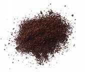 foto of coffee grounds  - Ground coffee pile isolated on white background overhead view - JPG