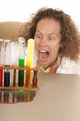 Crazy Woman Scientist With Test Tubes Mouth Open