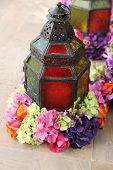 arabic lantern with colorful flowers