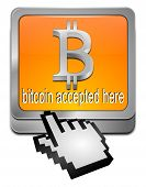 Bitcoin accepted here button with cursor
