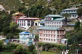 stock photo of sherpa  - Highland village Namche Bazar in Khumbu region Nepal - JPG