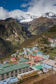 stock photo of sherpa  - Highland village Namche Bazar in Khumbu region Nepal - JPG
