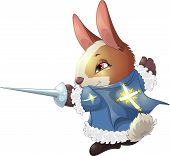 stock photo of musket  - the fantastic hare the musketeer with a sword in a pad - JPG