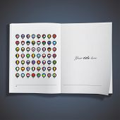 Flags Inside Pointers Printed On Book. Vector Design