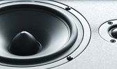 picture of membrane  - Closeup view of huge black bass speaker with high quality membrane - JPG