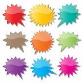 picture of starburst  - set of blank colorful paper starburst speech bubbles - JPG