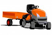 picture of tractor-trailer  - Lawn tractor machine garden illustration art vector - JPG