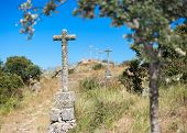 pic of judas  - isolated stone crosses located on a hill - JPG
