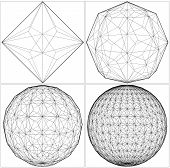 stock photo of dodecahedron  - From Octahedron To The Ball Sphere Lines Vector - JPG