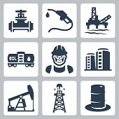 image of oil derrick  - Vector oil industry icons set over white - JPG