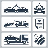 stock photo of wreckers  - Vector breakdown truck and car accident icons set - JPG