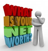 stock photo of thinker  - What Is Your Net Worth Question Thinker How Figure Total Wealth Value - JPG