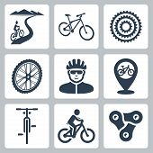 stock photo of bicycle gear  - Vector bicycling cycling icons set over white - JPG
