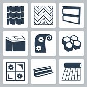stock photo of linoleum  - Vector building materials icons set over white - JPG