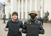 Two Protesters In Front Of The Ukrainian Parliament