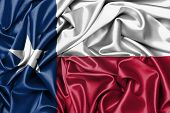stock photo of texas state flag  - Satin flag three dimensional render flag of Texas - JPG