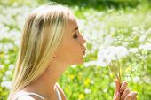 Girl blowing on white dandelion among dandelions