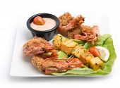 picture of tiger prawn  - Fried black tiger prawns plate isolated on white - JPG