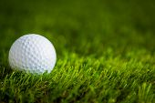 stock photo of caddy  - Golf ball on green grass - JPG
