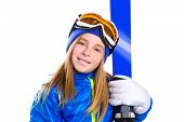 picture of nordic skiing  - Kid girl ski with snow goggles and winter wool hat - JPG