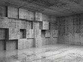 stock photo of stage decoration  - Abstract empty concrete 3d interior with decoration cubes on the wall - JPG