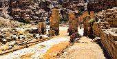 image of petra jordan  - Beautiful red rock formations in Petra Jordan - JPG