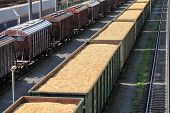 stock photo of railroad yard  - the train yard full of freight trains - JPG