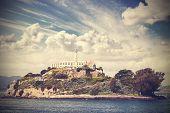 stock photo of alcatraz  - Vintage picture of Alcatraz Island in San Francisco USA - JPG