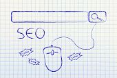 pic of ebusiness  - conceptual design about search engine optimization with search bar and clicking mouse - JPG