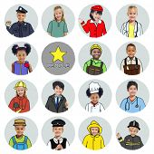 stock photo of cabin crew  - Multiethnic group of Children with Various Jobs Concepts - JPG