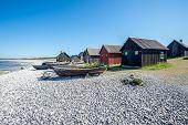 picture of faroe islands  - Helgumannens fishing village on Faro island in the Baltic sea - JPG