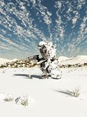 stock photo of trooper  - Science fiction illustration of a space marine trooper on patrol in a snow covered wilderness - JPG
