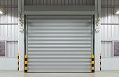 stock photo of roller shutter door  - Shutter door or rolling door night scene - JPG