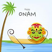stock photo of onam festival  - South Indian festival Happy Onam festival celebrations with cultural Kathakali dancer face - JPG