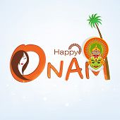 picture of onam festival  - Happy Onam celebration concept with beautiful lady and Indian traditional Kathakali dancer face and coconut tree on sky blue background - JPG