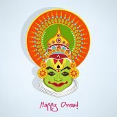 picture of pookolam  - Illustration of kathakali face with heavy makeup and many colours decorated crown with reflection on light blue background - JPG