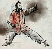 image of tai-chi  - An hand drawn full sized illustration  - JPG