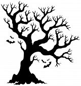 foto of halloween  - Silhouette Halloween tree with bats  - JPG