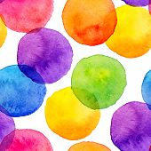 stock photo of pastel colors  - Bright rainbow colors watercolor painted circles vector seamless pattern - JPG