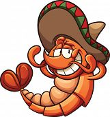 foto of shrimp  - Cartoon Mexican shrimp relaxing - JPG