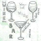 image of cocktail menu  - Set of sketched glasses for red wine white wine martini and cocktail - JPG
