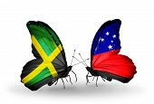 pic of samoa  - Two butterflies with flags on wings as symbol of relations Jamaica and Samoa - JPG