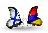 picture of armenia  - Two butterflies with flags on wings as symbol of relations Finland and Armenia - JPG