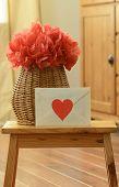 foto of pom poms  - Vase basket red pom pom tissue paper flower - JPG