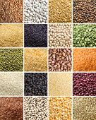 stock photo of legume  - Collage of 20 different legumes and cereals close up - JPG