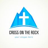 foto of passion christ  - Template logo for a Christian organization in the form of a cross on the rock - JPG